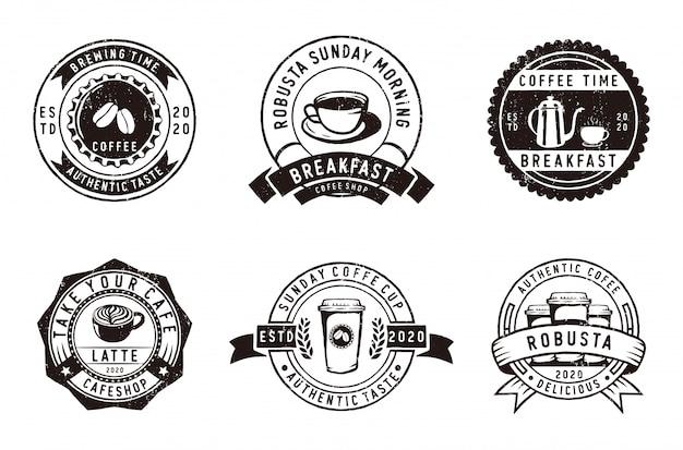 ビンテージバッジコーヒー、コーヒーショップ、エンブレムのセット
