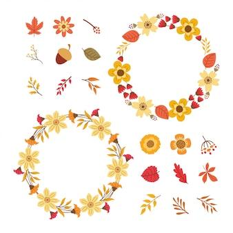 夏の花の要素のコレクション