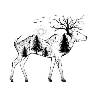 森の背景を持つ鹿のイラスト