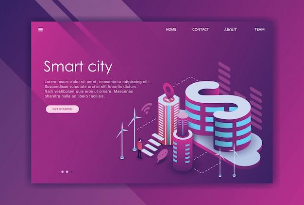 Изометрический дизайн целевой страницы делового городка