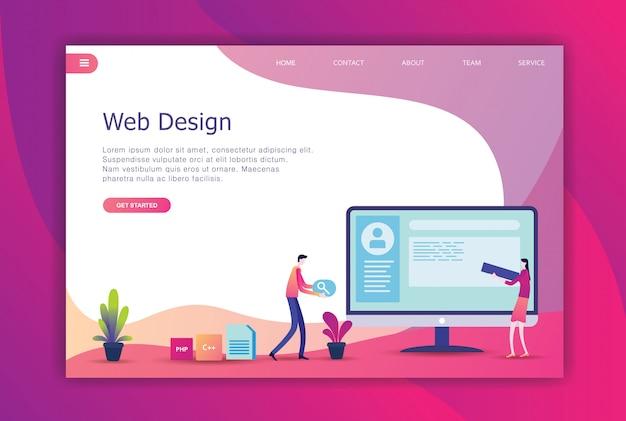モダンなフラットデザインビジネスのランディングページ