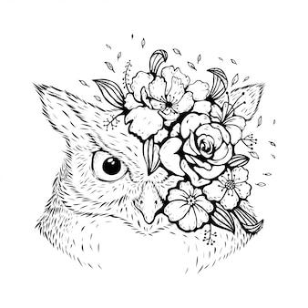 花柄のデザインの動物フクロウ