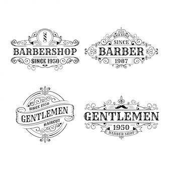 ビンテージ理髪店バッジデザイン、書道、タイポグラフィー要素のセットスタイルデザイン