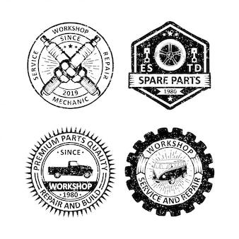 ビンテージガレージバッジラベル、エンブレム、ロゴのセット