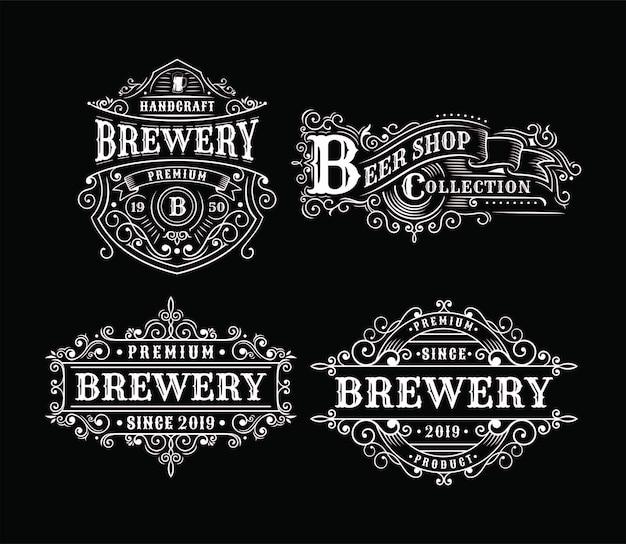 ビンテージ醸造所ラベルデザイン、書道とタイポグラフィの要素スタイルデザインのセット