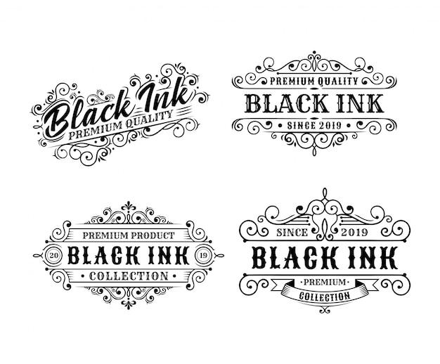 ビンテージタトゥーラベルデザイン、書道、タイポグラフィー要素のセットスタイルデザイン