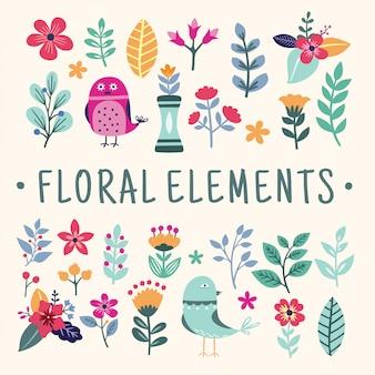 Набор красивых цветочных элементов