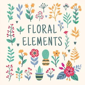美しい花の要素セット