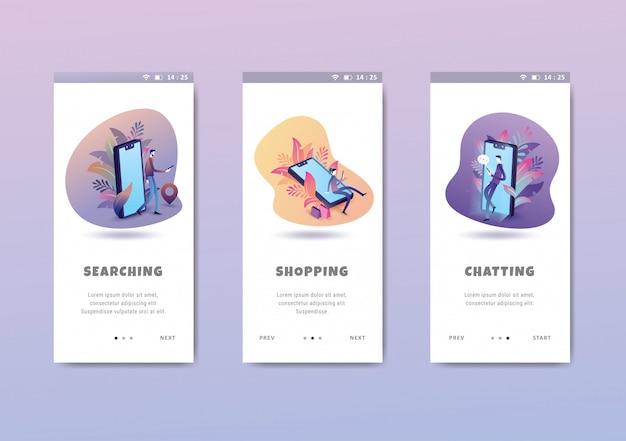 人々の活動概念オンボーディング画面ユーザーインターフェイスキットテンプレート