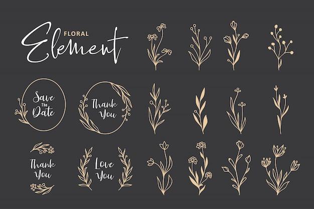 美しい手描きの花の花輪コレクション