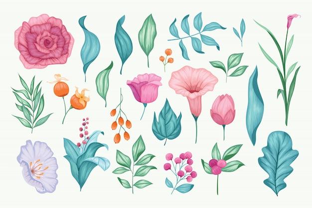 美しいヴィンテージ手描き花コレクション