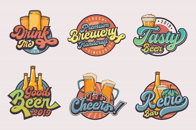 ビンテージビールのロゴのテンプレートのセット