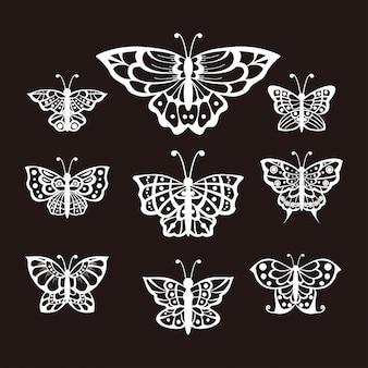 ベクトルイラスト蝶ラインアートのセット