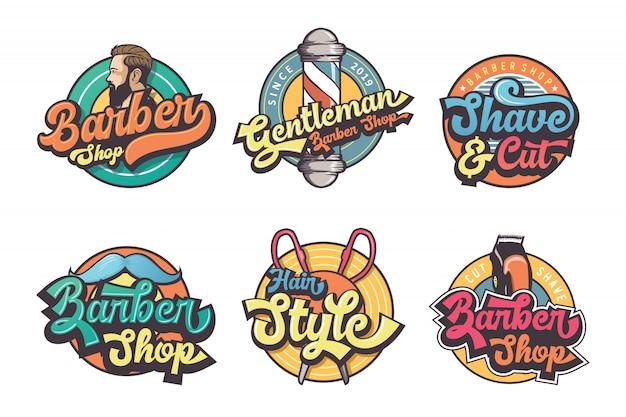 ビンテージの理髪店のロゴのセット
