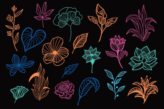 Красивые неоновые рисованной цветочные векторных коллекции