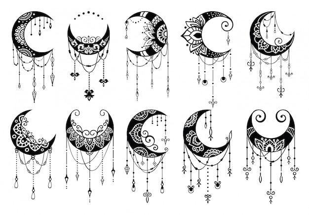 Полумесяц в стиле мандалы, коллекция элементов декора луны