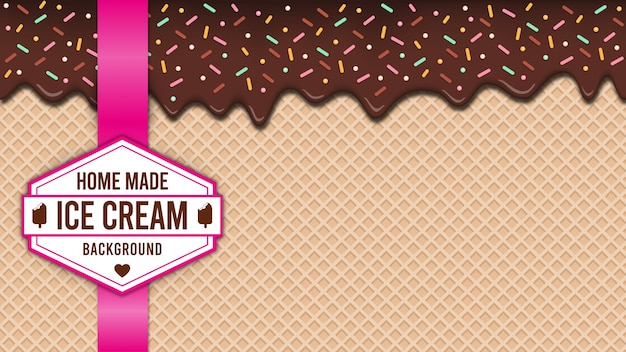 Вафельное ванильное мороженое окропляет фон