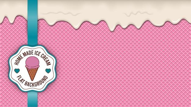 Вафельный фон с розовым мороженым