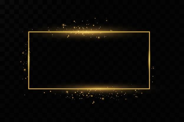 Золотая рамка сияющий прямоугольник баннера. изолированные на черном прозрачном фоне.