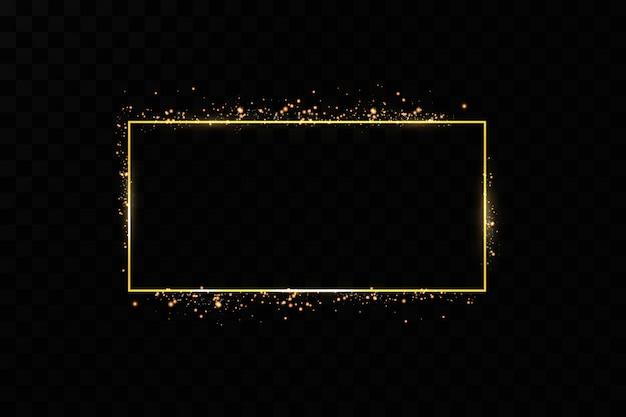 Золотая рамка. изолированные на черном прозрачном фоне.
