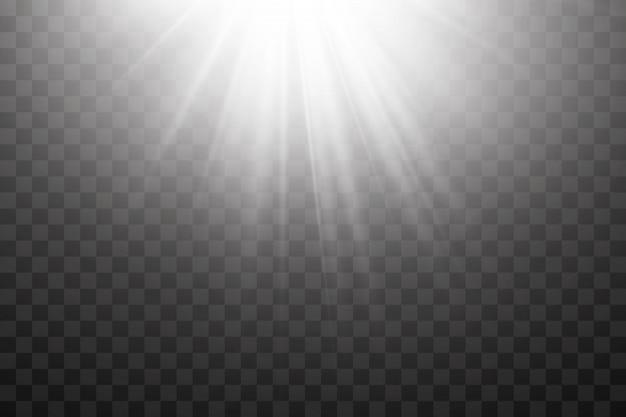 Прозрачный солнечный свет. векторная сцена освещается прожектором. световой эффект на прозрачном фоне