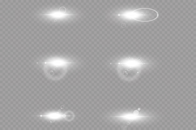 Специальный объектив бликов света эффект. белый светящийся свет взорваться на прозрачном фоне. с лучом. прозрачное сияющее солнце, яркая вспышка.