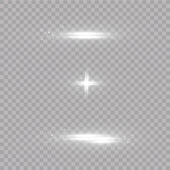 Набор вспышек, огней и блесток. яркие вспышки и блики. изолированные абстрактные огни яркие лучи света. светящиеся линии.