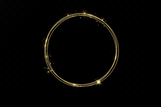Золото светящиеся круглая рамка с световыми эффектами изолированы. сияющее золотое кольцо. неоновый вихревой след эффект.