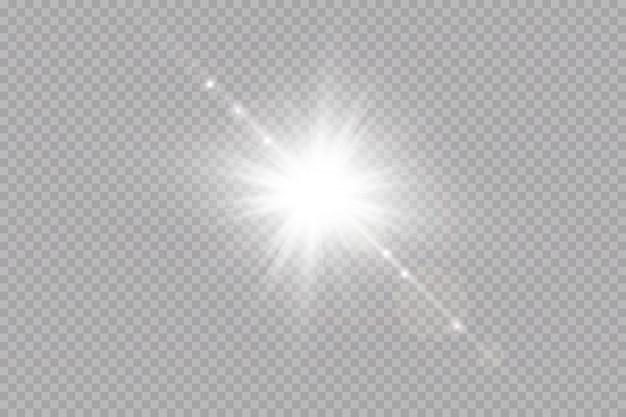 透明な背景で白い輝く光が爆発します。光線で。透明な太陽、明るいフラッシュ。特殊レンズフレアライト効果。