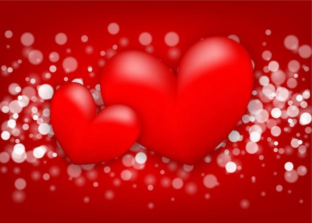 С днем святого валентина сердце открытка на красном с боке