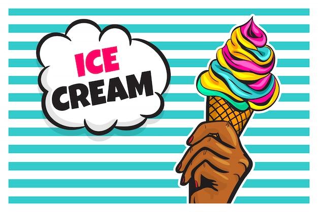 Черная женщина рука держать конус мороженого в стиле поп-арт.