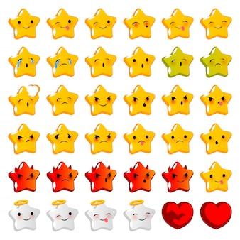 感情的な笑顔は大きなセットの黄色の星に直面しています