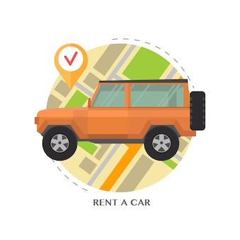 Аренда автомобилей. автомобиль на фоне карты с указателем.