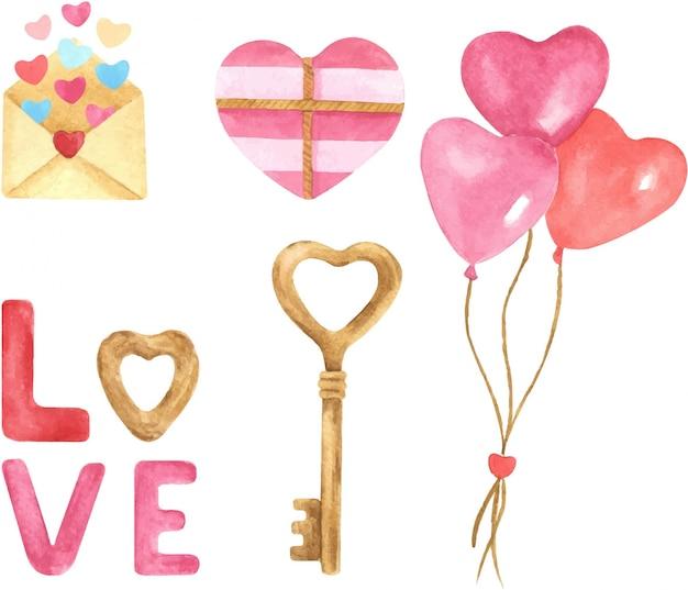 バレンタインの日手描き水彩イラストセット。風船、ハート、プレゼント、レタリング、手紙、ハート形のキー。