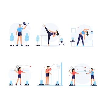 アスリートは毎朝運動して健康な体のシーンを維持します