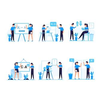 翻訳者は記事を翻訳し、外国語を使って教え、コミュニケーションします