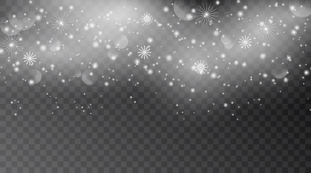 Падающий снег, изолированные на темном фоне. снежинка прозрачный эффект украшения.