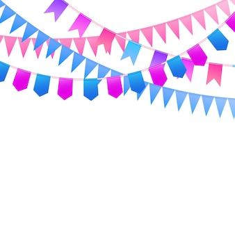 カーニバルガーランド誕生日のお祝い、祭り、公正な装飾のための装飾的なカラフルなパーティーペナント。