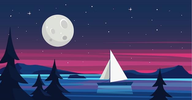 海、夜、ヨットのある風景