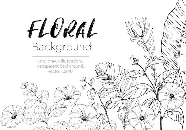 Цветочный фон с тропическими растениями. нарисованный от руки