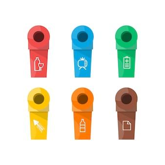 カラフルな分離ごみ箱アイコンのコレクション。有機、電池、金属、プラスチック、紙、ガラス、廃棄物、電球、アルミニウム、食品、缶、ボトル。ビンのベクトル、ごみ箱