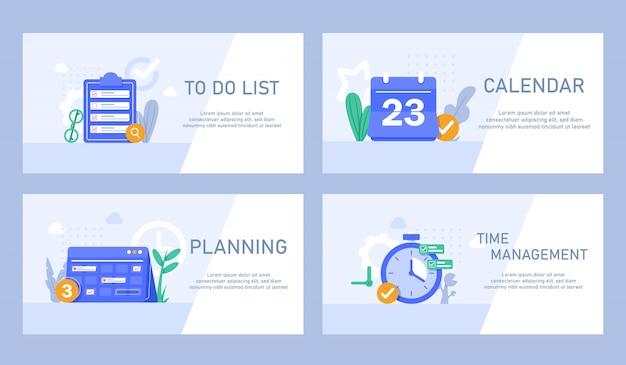 時間管理、ターゲット設定、作業計画、タイミング、トレーニング計画コンセプトアイコンを作成するためのフラットなデザインコンセプト。タスクリストと期限