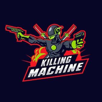 機械ロボットのマスコットロゴ