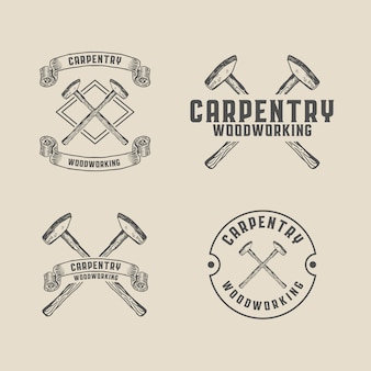 Деревообрабатывающий плотницкий молот старинный логотип шаблон