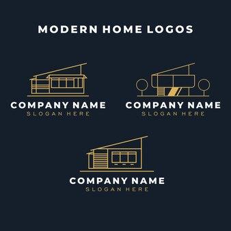 Шаблон логотипа современного дома