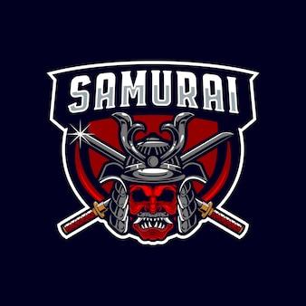 武士のマスコットのロゴ