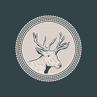 鹿の頭ヴィンテージサークルバッジ