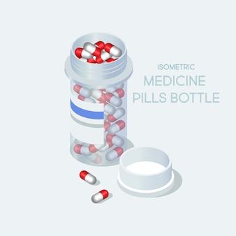 Бутылка таблетки изометрии. плоская иллюстрация.