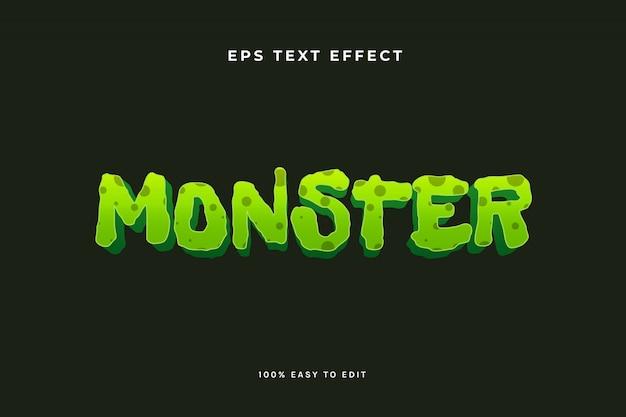 Текстовый эффект зеленого монстра-зомби