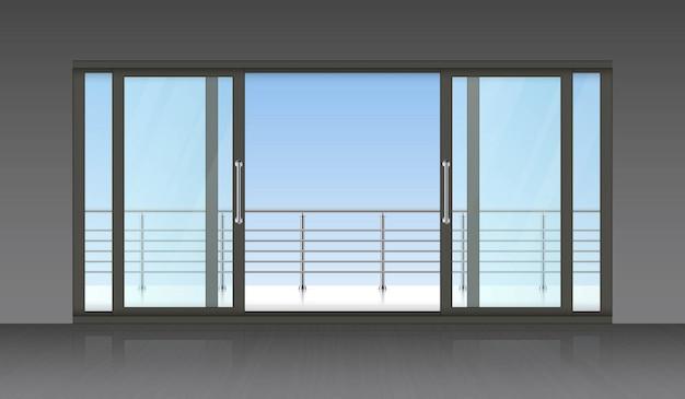 スライド式の外部ドアとテラスの背景